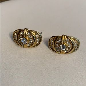 Vintage Gold Tone Crystal Earrings